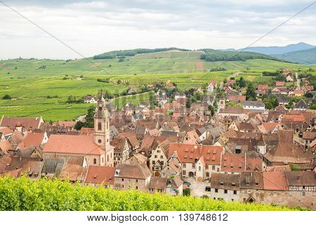 Riquewihr in the heart of the Alsatian vineyard Alsace France