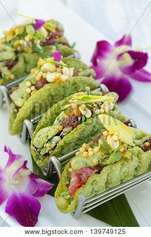 Mini Ahi Poke Tacos