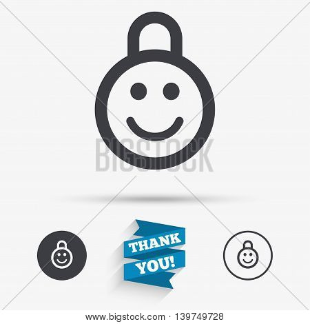 Child lock icon. Locker with smile symbol. Child protection. Flat icons. Buttons with icons. Thank you ribbon. Vector