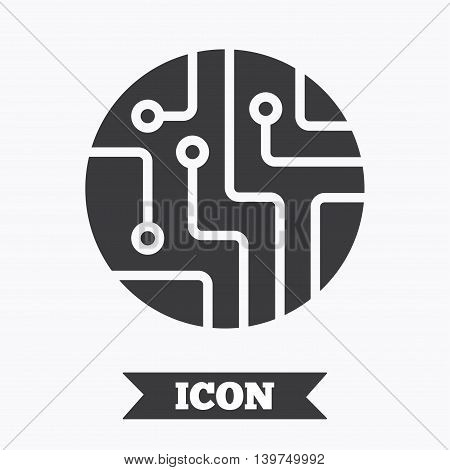Circuit board sign icon. Technology scheme circle symbol. Graphic design element. Flat circuit board symbol on white background. Vector