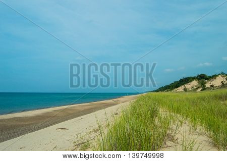 Beach at Indiana Dunes National Lakeshore. Eastward view.