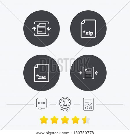 Archive file icons. Compressed zipped document signs. Data compression symbols. Chat, award medal and report linear icons. Star vote ranking. Vector