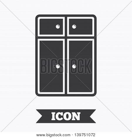 Cupboard sign icon. Modern furniture symbol. Graphic design element. Flat cupboard symbol on white background. Vector