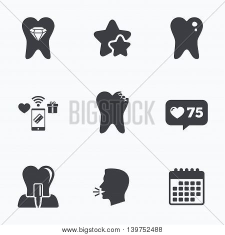 Dental care icons. Caries tooth sign. Tooth endosseous implant symbol. Tooth crystal jewellery. Flat talking head, calendar icons. Stars, like counter icons. Vector