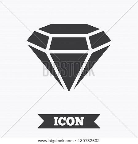 Diamond sign icon. Jewelry symbol. Gem stone. Graphic design element. Flat diamond symbol on white background. Vector