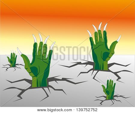 The Hands of the crock climb from rift in floor.Vector illustration poster
