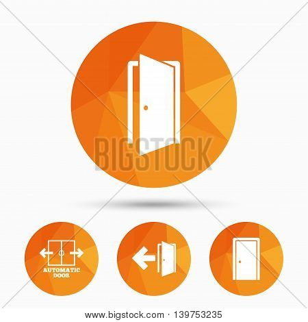 Automatic door icon. Emergency exit with arrow symbols. Fire exit signs. Triangular low poly buttons with shadow. Vector