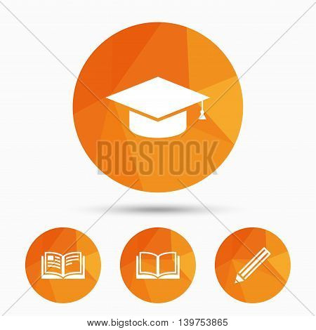 Pencil and open book icons. Graduation cap symbol. Higher education learn signs. Triangular low poly buttons with shadow. Vector