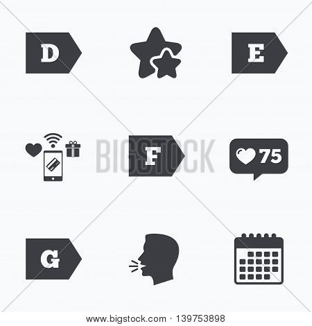 Energy efficiency class icons. Energy consumption sign symbols. Class D, E, F and G. Flat talking head, calendar icons. Stars, like counter icons. Vector
