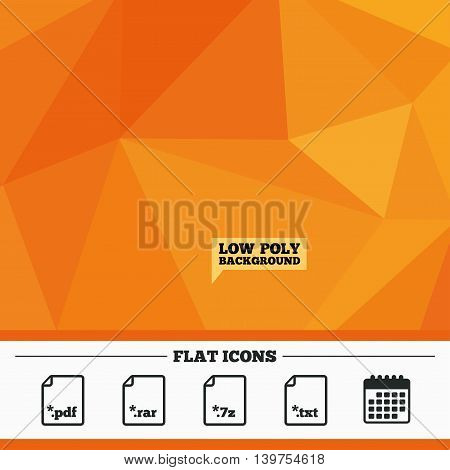 Triangular low poly orange background. Download document icons. File extensions symbols. PDF, RAR, 7z and TXT signs. Calendar flat icon. Vector