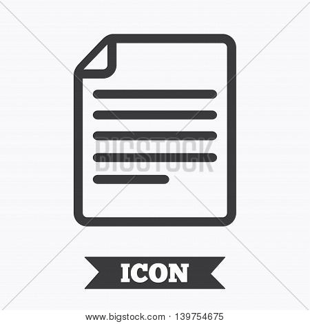 File document icon. Download doc button. Doc file symbol. Graphic design element. Flat file document symbol on white background. Vector