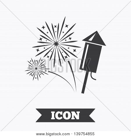 Fireworks with rocket sign icon. Explosive pyrotechnic symbol. Graphic design element. Flat fireworks symbol on white background. Vector