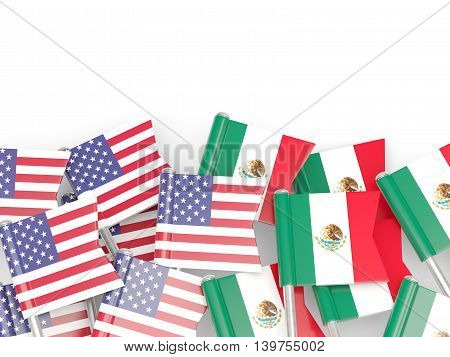 Flags Of Usa And Mexico Isolated On White