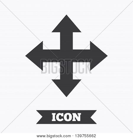 Fullscreen sign icon. Arrows symbol. Icon for App. Graphic design element. Flat fullscreen symbol on white background. Vector