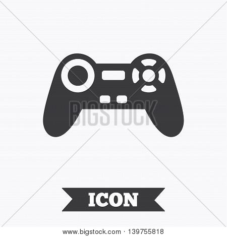 Joystick sign icon. Video game symbol. Graphic design element. Flat game joystick symbol on white background. Vector