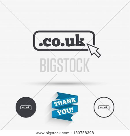 Domain CO.UK sign icon. UK internet subdomain symbol with cursor pointer. Flat icons. Buttons with icons. Thank you ribbon. Vector