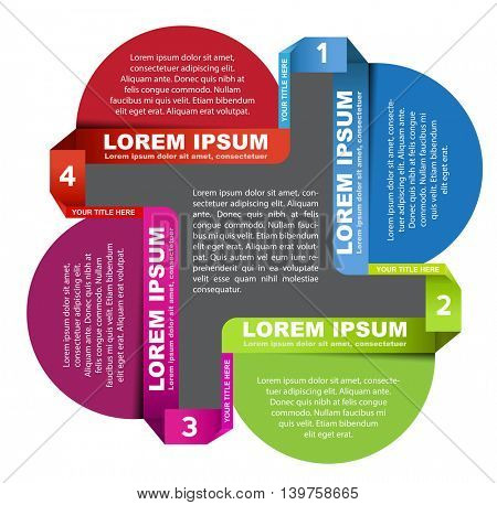 Abstract vector color scheme with four steps and palce for text