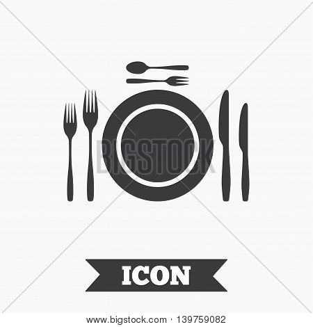 Plate dish with forks and knifes. Dessert trident fork with teaspoon. Eat sign icon. Cutlery etiquette rules symbol. Graphic design element. Flat cutlery symbol on white background. Vector