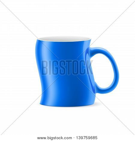 Blue curve a cup of something stay on white background