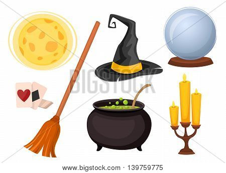 Wizard and magic tricks icons. Wizard hat, magic ball for divination and other wizard icons. Cartoon wizard tools isolated on white background. Witch hat, boiling cauldron, magic crystal ball fortune. Witches kit. Kit for divination.