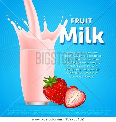 Strawberry milkshake dessert cocktail glass fresh drink in cartoon vector illustration. Fruit milk splash. Milk cocktail dessert. Delicious drink. Glass of fruit milkshake. Sweet milk drink. Milk splash in a glass. Milkshake.