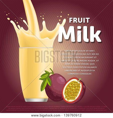 Passion fruit sweet milkshake dessert cocktail glass fresh drink in cartoon vector illustration. Fruit milk splash. Milk cocktail dessert. Delicious drink. Glass of fruit milkshake. Sweet milk drink. Milk splash in a glass. Milkshake.
