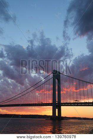 Verrazano Bridge at sunset in New York