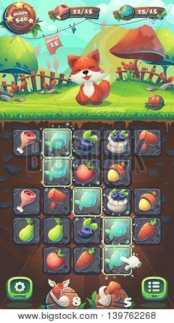 Feed the fox GUI playing field match 3 - cartoon stylized vector illustration mobile format window with options buttons game items.
