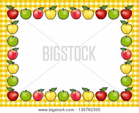 Apple Frame place mat, red and golden Delicious, green Granny Smith and Pink apple fruits, white center with copy space, gingham check border in gold tablecloth pattern.