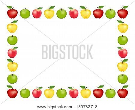 Apple frame place mat with red and golden Delicious, green Granny Smith and Pink apple fruits, white background with copy space. poster