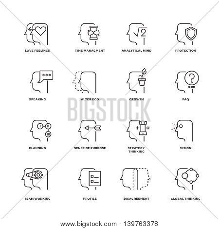 Human mind process, brain features line vector icons set. Brain human and process of psychology brain illustration
