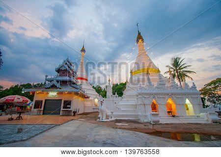 pagoda in sunset at Wat Phra That Doi Kong Mu Mae Hong Son Thailand