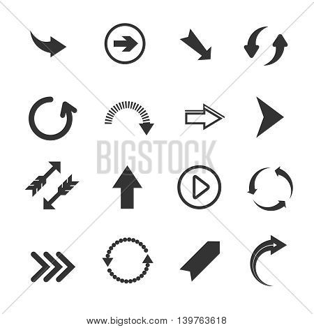 Arrow icons. Vector set of round arrows, undo and redo signs, recycling arrows on white background