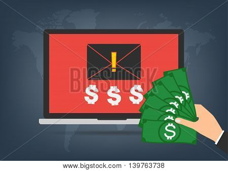 Computer laptop got blackmail ransom latter request money for paying importance data form businessman with banknote on world map background. Vector illustration technology data privacy and security concept.