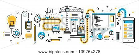 Flat line vector design illustration concept plan of mobile application development process app design programming coding building and debugging for website banner and landing page infographics