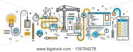 Flat line vector design illustration concept plan of mobile application development process app design programming coding building and debugging for website banner and landing page infographics