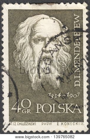 MOSCOW RUSSIA - CIRCA JANUARY 2016: a post stamp printed in POLAND shows a portrait of D. I. Mendeleev the series
