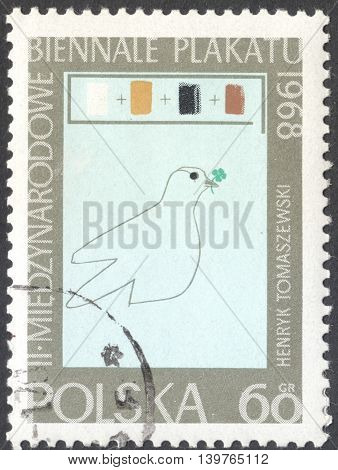 MOSCOW RUSSIA - CIRCA JANUARY 2016: a post stamp printed in POLAND shows a dove the series