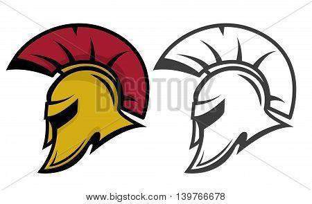 Spartan warrior helmet. Sports team emblem template. Design element for logo label emblem sign. Vector illustration.