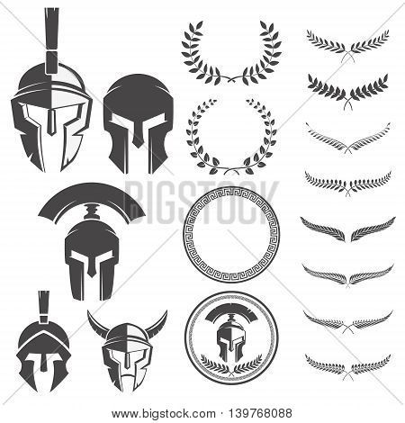 Set of the spartan warriors helmets and design elements for emblems create. Design elements for logo label emblem sign. Vector illustration.