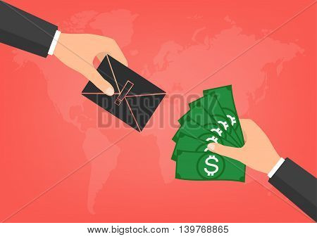 Hacker have a blackmail ransom latter request money for paying importance data form businessman with banknote on world map background. Vector illustration technology data privacy and security concept.