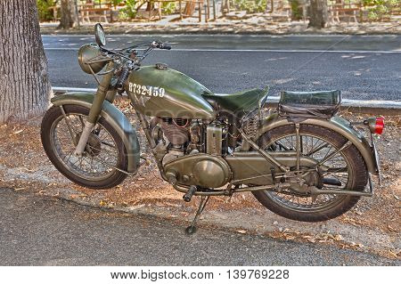 BRISIGHELLA RA ITALY - JULY 17: old British military motorcycle Matchless 350 G3 L (1944) on display during the meeting