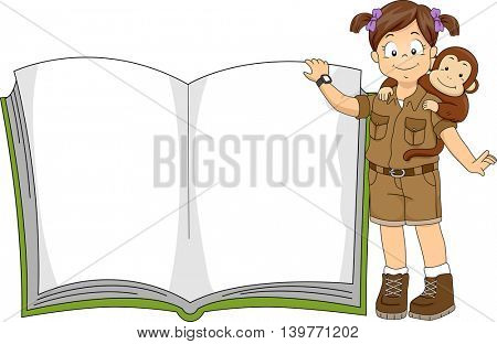Illustration of a Little Girl in a Safari Outfit Standing Beside a Giant Book