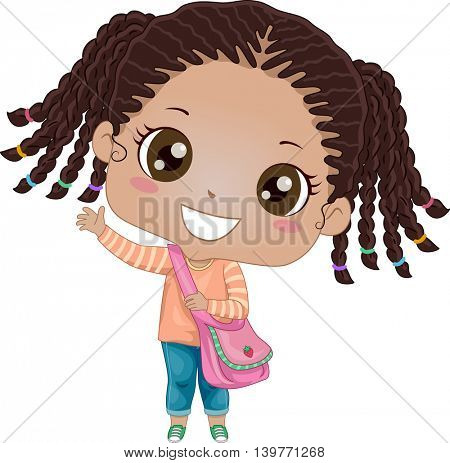 Illustration of an African Girl Eagerly Waving Goodbye