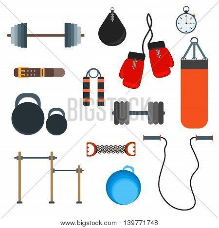 Flat fitness sport gym exercise equipment workout flat set concept gym sport equipment. Vector gym sport equipment colorful template muscle training. Gym sport equipment workout lifestyle.