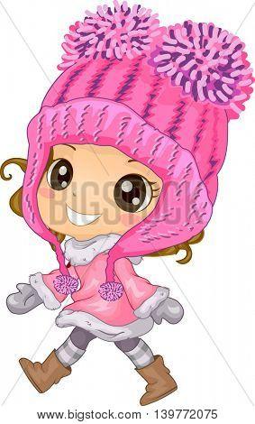 Illustration of a Cute Little Girl Wearing a Pom Pom Hat