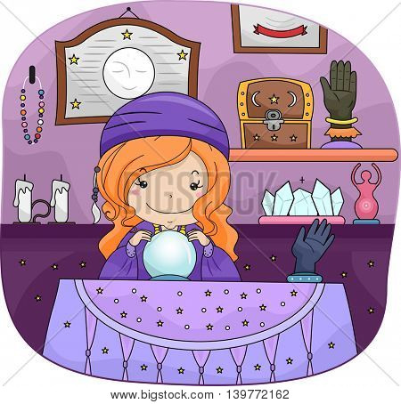 Illustration of a Little Gypsy Girl Using a Crystal Ball