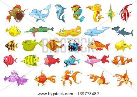 Set of funny colourful fish illustrations. Collection of sea fauna including dolphin, piranha, shark, fish hedgehog, gold fish. Vector illustration isolated on white background.
