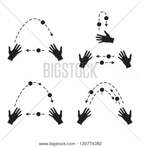 Juggling. Hands throw ball silhouette flat style isolated on white background. Learn to juggle advice.