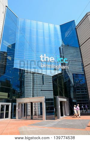 BIRMINGHAM, UNITED KINGDOM - JUNE 6, 2016 - Rear entrance to the ICC at Brindleyplace Birmingham England UK Western Europe, June 6, 2016.